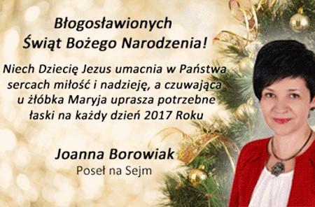 Życzenia Bożonarodzeniowe Poseł Joanny Borowiak