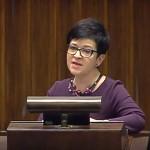 Poseł Joanna Borowiak zadaje pytanie w ramach Informacji bieżącej w sprawie restrukturyzacji górnictwa węgla kamiennego złożonej przez Klub Parlamentarny PiS do Ministra Energii