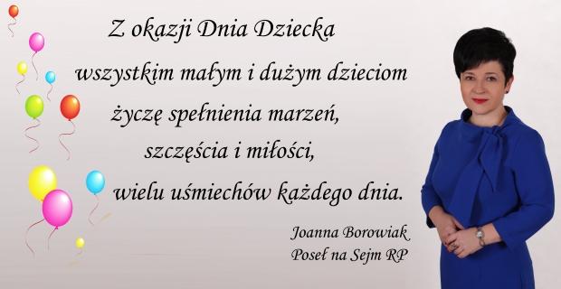 Poseł Joanna Borowiak składa życzenia z okazji Dnia Dziecka