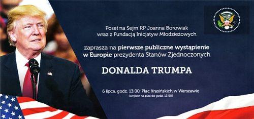 Poseł Joanna Borowiak wraz z Fundacją Inicjatyw Młodzieżowych zaprasza na wystąpienie Prezydenta Stanów Zjednoczonych Donalda Trumpa