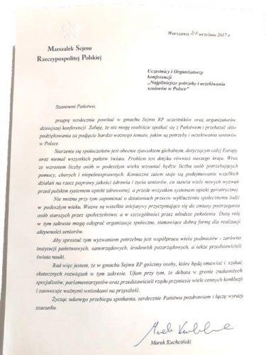 Konferencja pod patronatem Marszałka Sejmu RP Najpilniejsze potrzeby i oczekiwania seniorów w Polsce