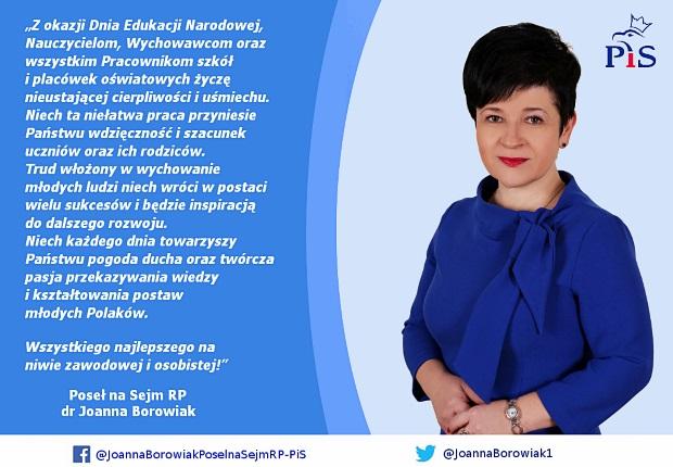 Poseł Joanna Borowiak składa życzenia z okazji Dnia Edukacji Narodowej