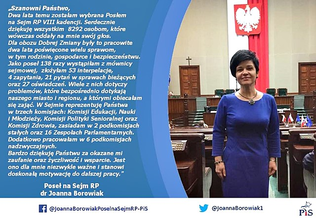Poseł Joanna Borowiak dziękuje za okazane zaufanie
