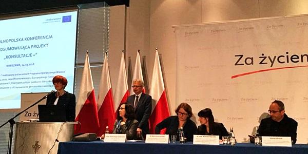 """Ogólnopolska konferencja podsumowująca konsultacje społeczne dotyczące zmian ustaw wdrażających Program Kompleksowego Wsparcia dla Rodzin """"Za życiem"""""""