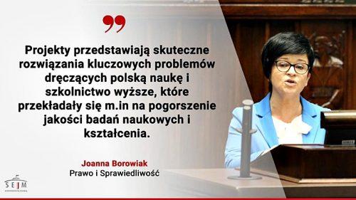 """Poseł Joanna Borowiak w imieniu Klubu Parlamentarnego Prawa i Sprawiedliwości przedstawiła stanowisko wobec rządowego projektu ustawy """"Prawo o szkolnictwie wyższym i nauce"""""""