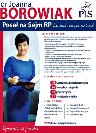 Sprawozdanie poselskie Poseł Joanny Borowiak