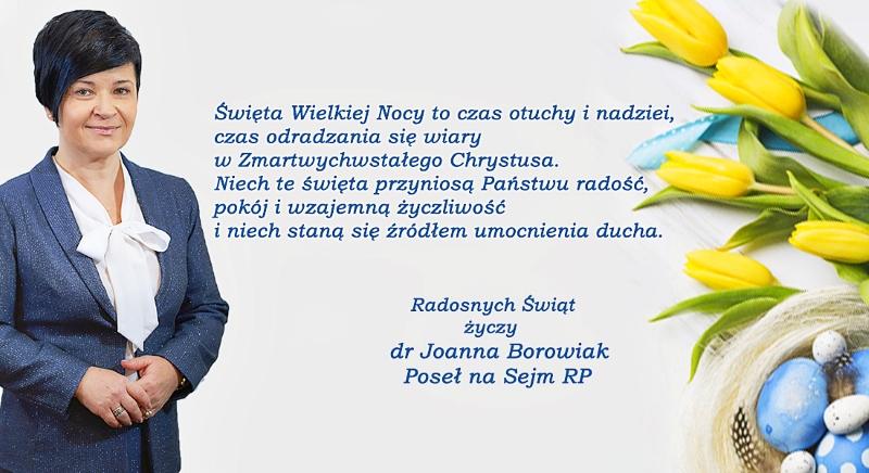 Życzenia Wielkanocne Poseł Joanny Borowiak