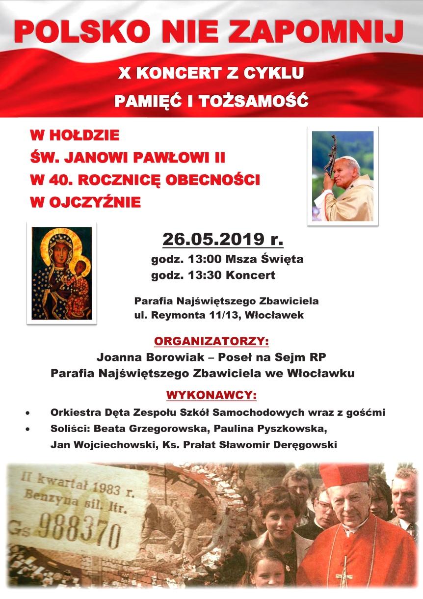 Poseł Joanna Borowiak zaprasza na Koncert w Kościele pw. Najświętszego Zbawiciela we Włocławku