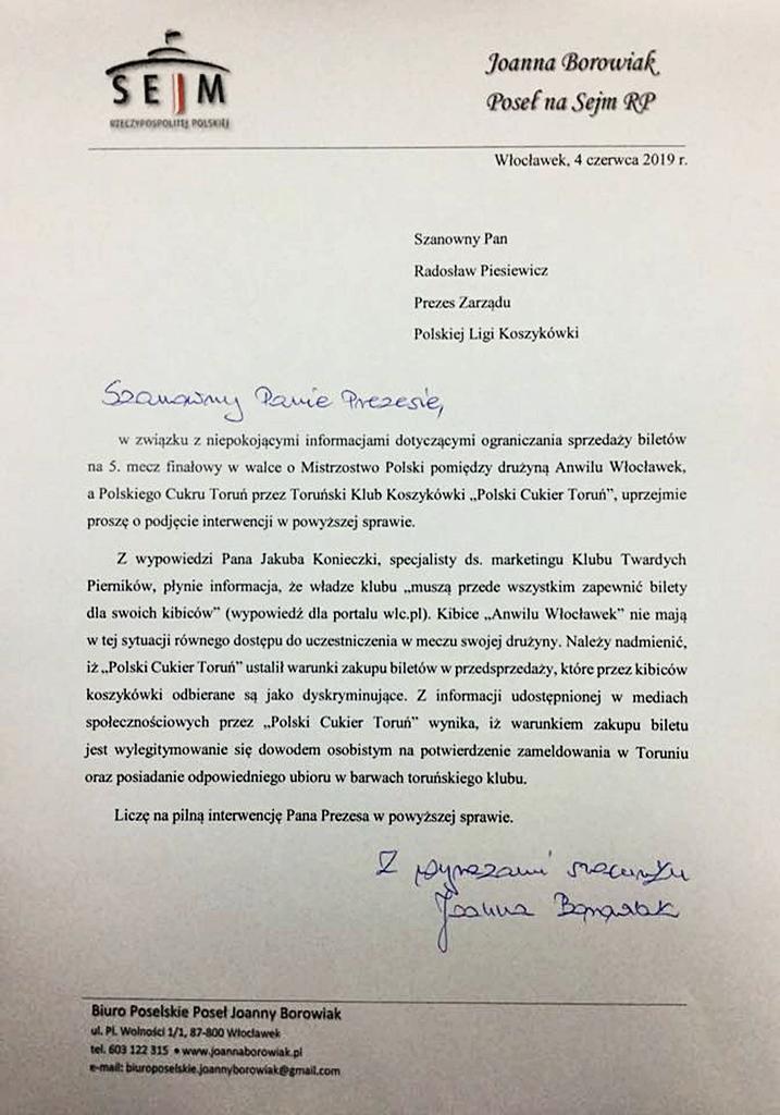 Poseł Joanna Borowiak wystąpiła do Prezesa PLK z prośbą o podjęcie interwencji w sprawie dyskryminacji kibiców Anwilu