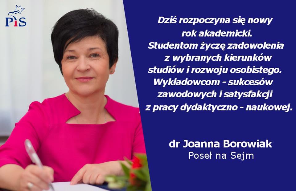 U progu nowego roku akademickiego Poseł Joanna Borowiak składa najlepsze życzenia