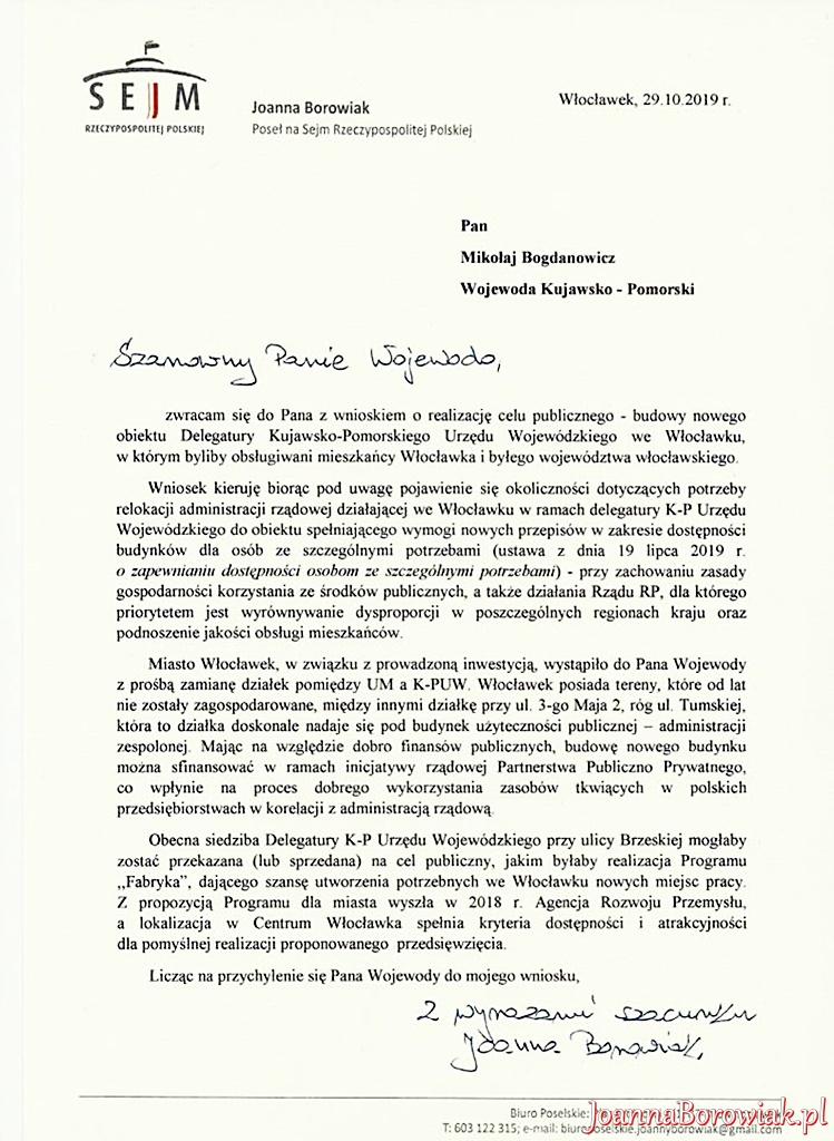 Poseł Joanna Borowiak z inicjatywą u Wojewody Kujawsko - Pomorskiego