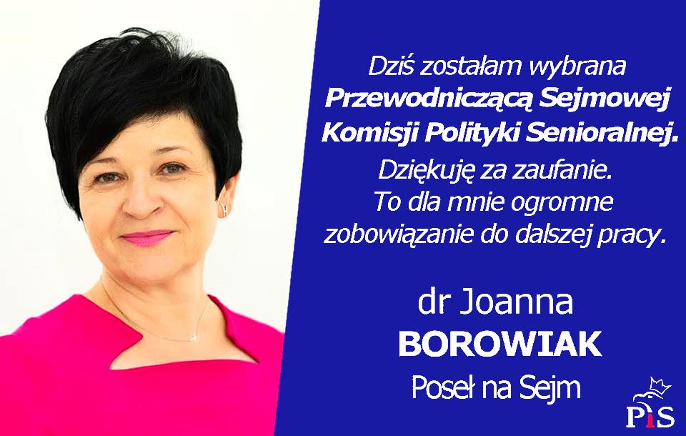 Poseł Joanna Borowiak przewodniczącą Sejmowej Komisji Polityki Senioralnej