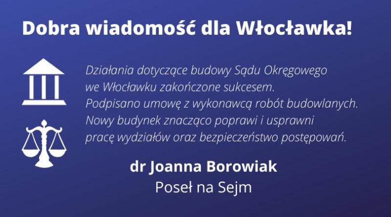 Podpisanie umowy z wykonawcą Sądu Okręgowego we Włocławku