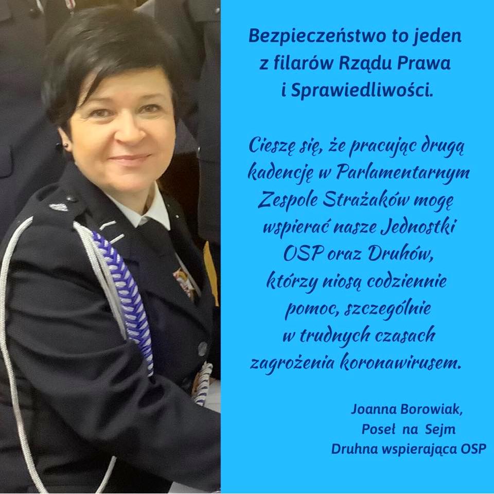 Poseł Joanna Borowiak złożyła najlepsze życzenia dla wszystkich Strażaków w dniu Ich święta
