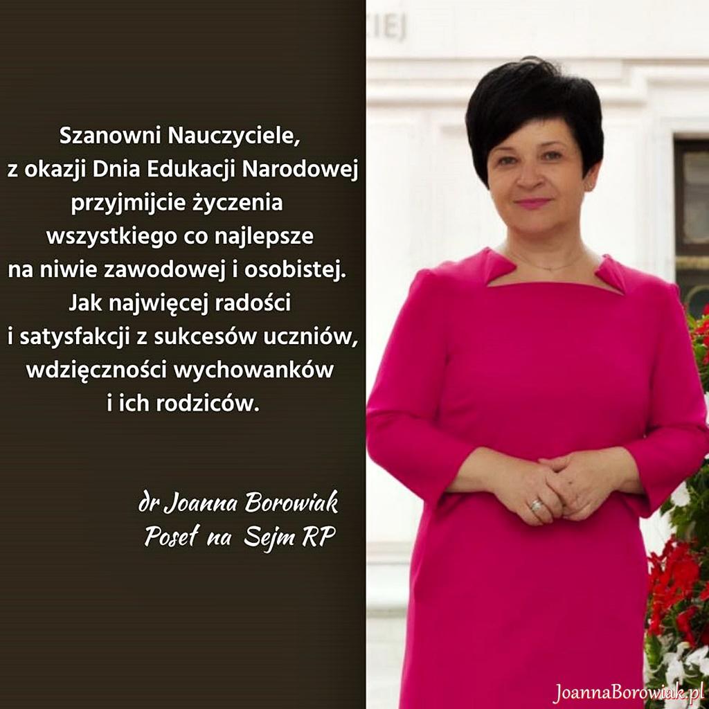Poseł Joanna Borowiak składa najlepsze życzenia z okazji Dnia Nauczyciela