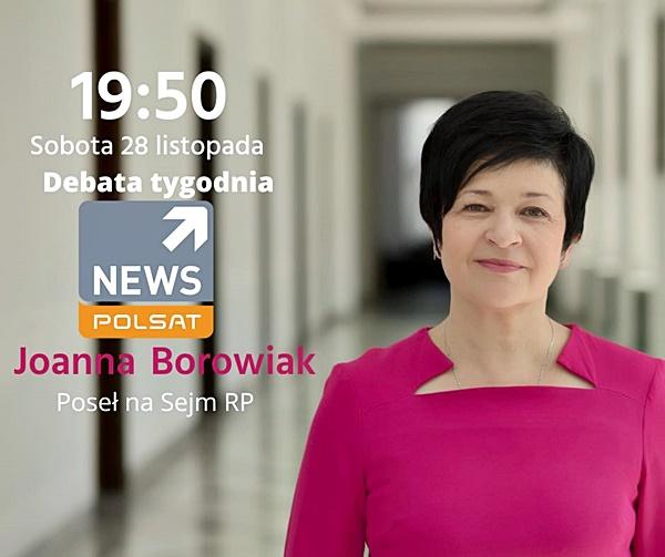 Poseł Joanna Borowiak zaprasza do obejrzenia programu w Polsat News
