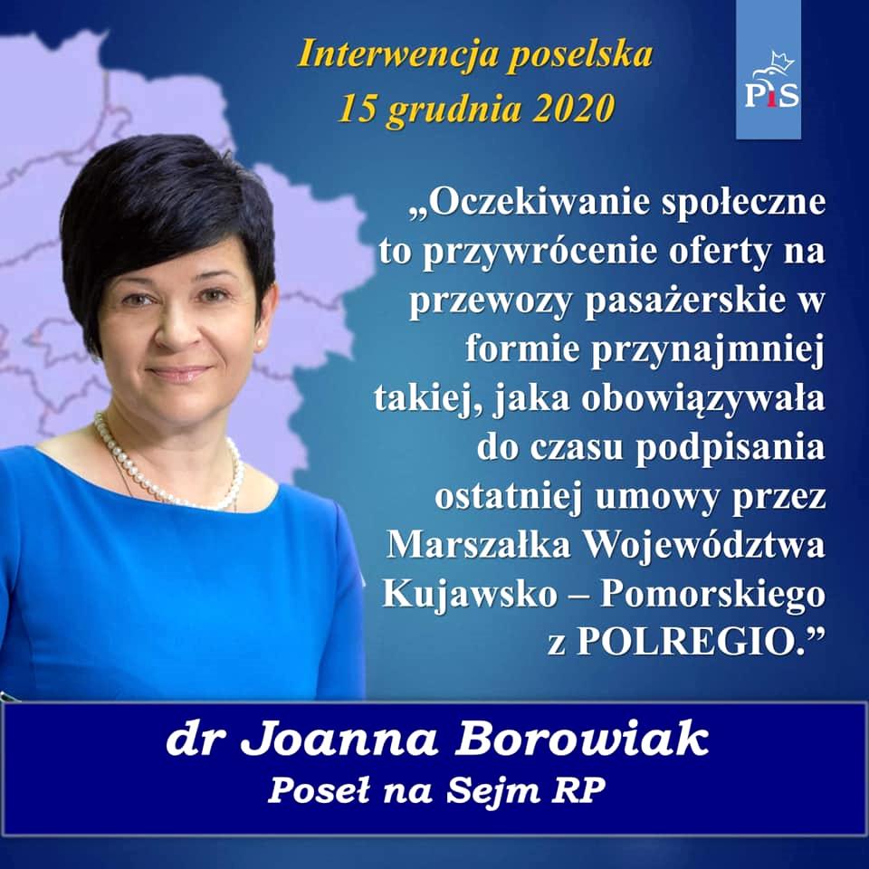 Interwencja poselska Poseł Joanny Borowiak u Marszałka województwa