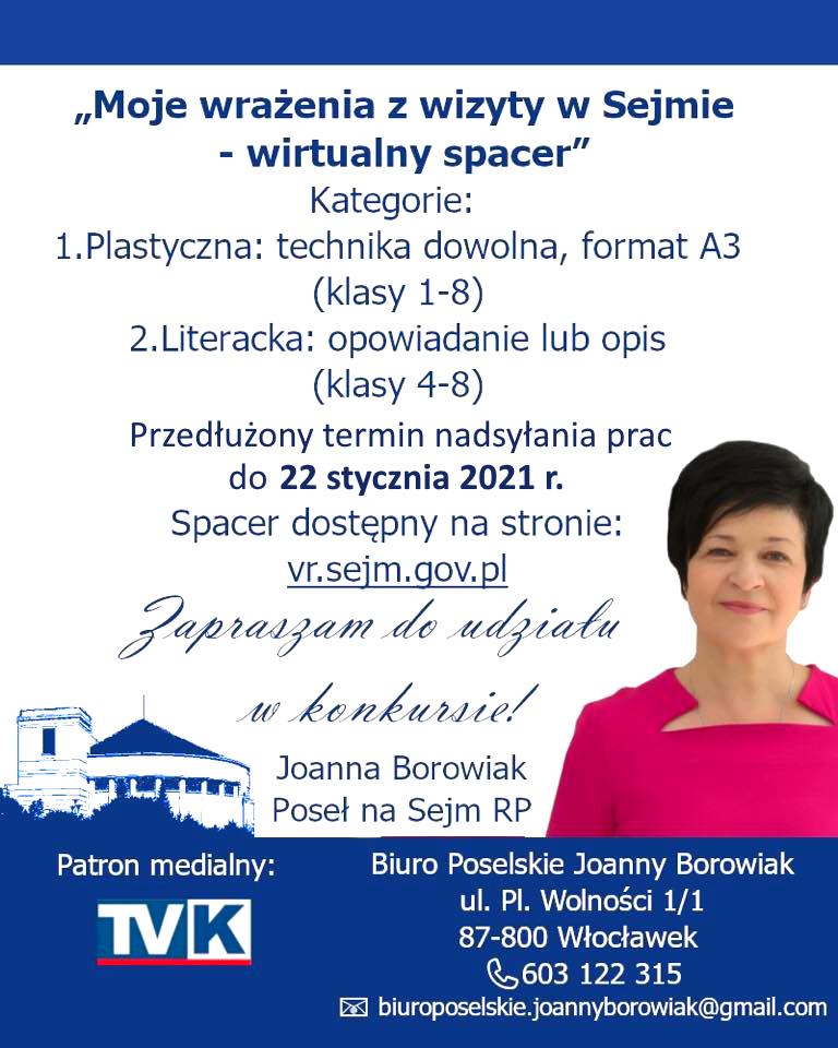 Poseł Joanna Borowiak zaprasza uczniów szkół podstawowych do udziału w konkursie Moje wrażenia z wizyty w Sejmie