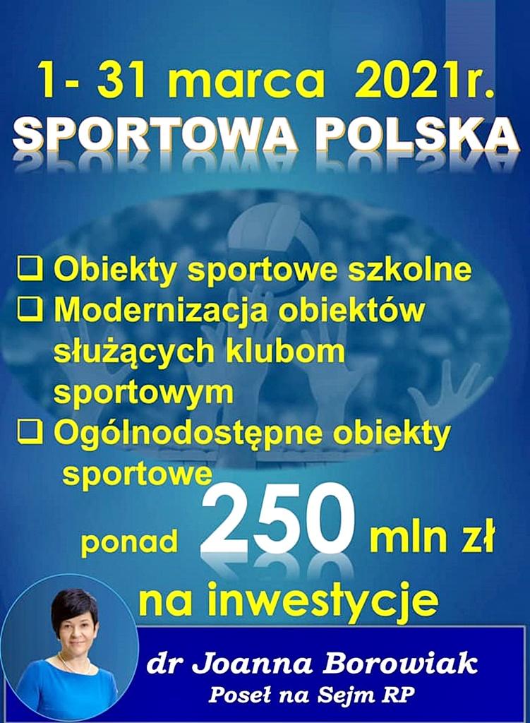 1 marca rusza program Sportowa Polska z kwotą ponad 250 mln zł na inwestycje i modernizację szkolnych obiektów sportowych